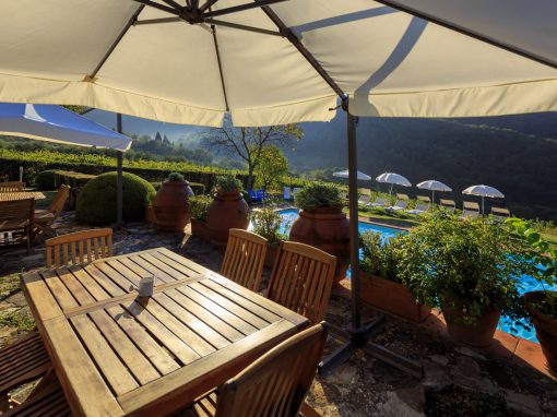 Casa Diana, vista mozzafiato sulla piscina e sulla campagna di olivi, vigneto e cipressi